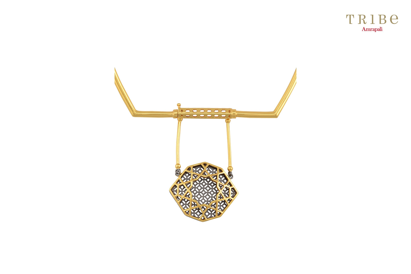 Shop online Silver Gold Plated Front Single Drop Necklace in USA by Amrapali. Adorn your Indian traditional look with an exquisite range of Indian silver gold plated jewelry available at Pure Elegance fashion store in USA or shop online. -close-up view
