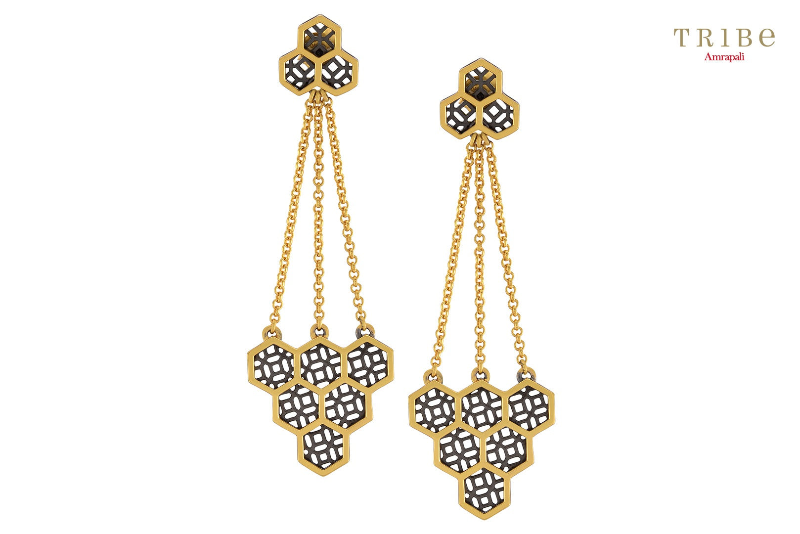 Shop online Silver Dual Tone Hexagon Honeycomb Earrings in USA by Amrapali. Adorn your Indian traditional look with an exquisite range of Indian silver gold plated jewelry available at Pure Elegance fashion store in USA or shop online. -full view