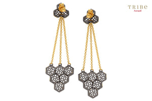 Shop online Silver Dual Tone Hexagon Honeycomb Earrings in USA by Amrapali. Adorn your Indian traditional look with an exquisite range of Indian silver gold plated jewelry available at Pure Elegance fashion store in USA or shop online. -back view
