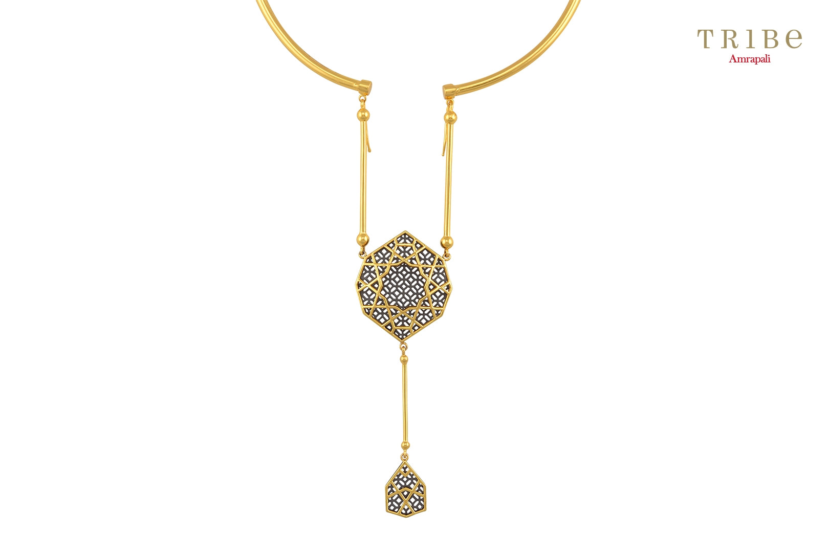 Shop online Silver Gold Plated Hasli Double Drop Necklace in USA by Amrapali. Adorn your Indian traditional look with an exquisite range of Indian silver gold plated jewelry available at Pure Elegance fashion store in USA or shop online. -Close-up view