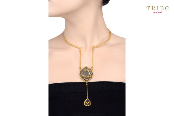 Shop online Silver Gold Plated Hasli Double Drop Necklace in USA by Amrapali. Adorn your Indian traditional look with an exquisite range of Indian silver gold plated jewelry available at Pure Elegance fashion store in USA or shop online. -neck view