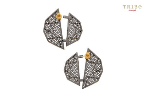 Shop online Silver Dual Tone Double Motif Flap Earrings in USA by Amrapali. Adorn your Indian traditional look with an exquisite range of Indian silver gold plated jewelry available at Pure Elegance fashion store in USA or shop online. -back view