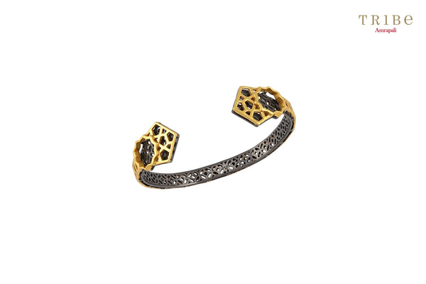 Buy Silver Gold Plated Star Geometric Cuff online in USA by Amrapali. Adorn your Indian traditional look with an exquisite range of Indian silver gold plated jewelry available at Pure Elegance fashion store in USA or shop online. -full view