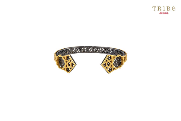 Buy Silver Gold Plated Star Geometric Cuff online in USA by Amrapali. Adorn your Indian traditional look with an exquisite range of Indian silver gold plated jewelry available at Pure Elegance fashion store in USA or shop online. -front view