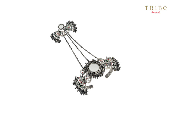 Shop online Silver Fan Motif Mirror Bead Cluster Hathphool in USA by Amrapali. Adorn your Indian traditional look with an exquisite range of Indian silver gold plated jewelry available at Pure Elegance fashion store in USA or shop online. -full view