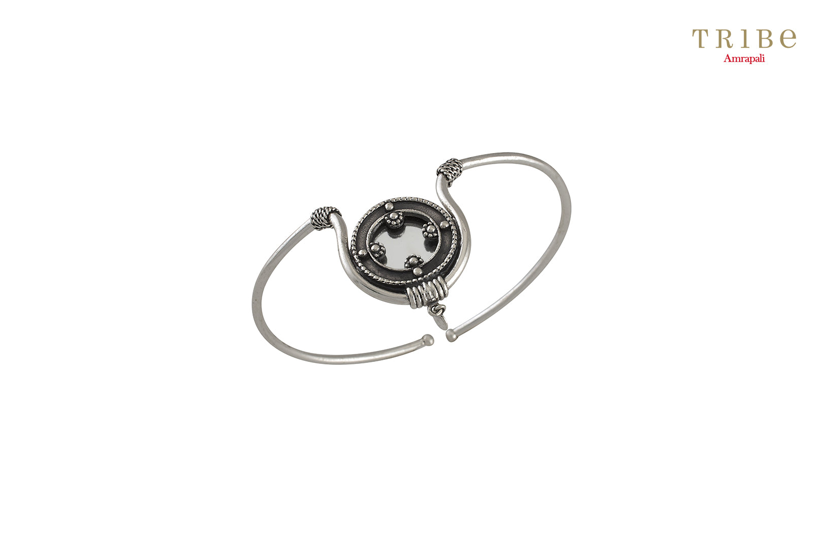 Shop Silver Oxidized Round Rawa Textured Mirror Armlet online in USA by Amrapali. Adorn your Indian traditional look with an exquisite range of Indian silver gold plated jewelry available at Pure Elegance fashion store in USA or shop online. -full view