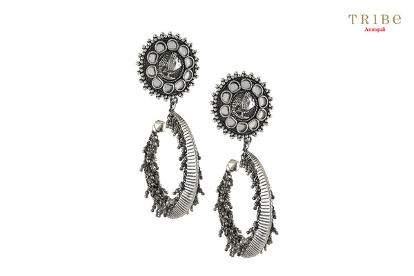 Shop online Silver Oxidized Fish Hoop Mirror Rawa Earrings in USA by Amrapali. Adorn your Indian traditional look with an exquisite range of Indian silver gold plated jewelry available at Pure Elegance fashion store in USA or shop online. -full view