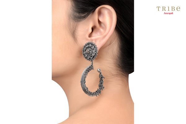 Shop online Silver Oxidized Fish Hoop Mirror Rawa Earrings in USA by Amrapali. Adorn your Indian traditional look with an exquisite range of Indian silver gold plated jewelry available at Pure Elegance fashion store in USA or shop online. -ear view