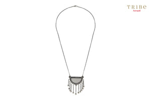 Shop online Silver Oxidized Hemisphere Mirror Tassel Necklace in USA by Amrapali. Adorn your Indian traditional look with an exquisite range of Indian silver gold plated jewelry available at Pure Elegance fashion store in USA or shop online. -full view