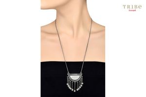 Shop online Silver Oxidized Hemisphere Mirror Tassel Necklace in USA by Amrapali. Adorn your Indian traditional look with an exquisite range of Indian silver gold plated jewelry available at Pure Elegance fashion store in USA or shop online. -neck view