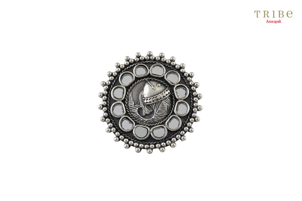 Shop online Silver Oxidized Mirror Fish Rawa Pendant in USA by Amrapali. Adorn your Indian traditional look with an exquisite range of Indian silver gold plated jewelry available at Pure Elegance fashion store in USA or shop online. -full view