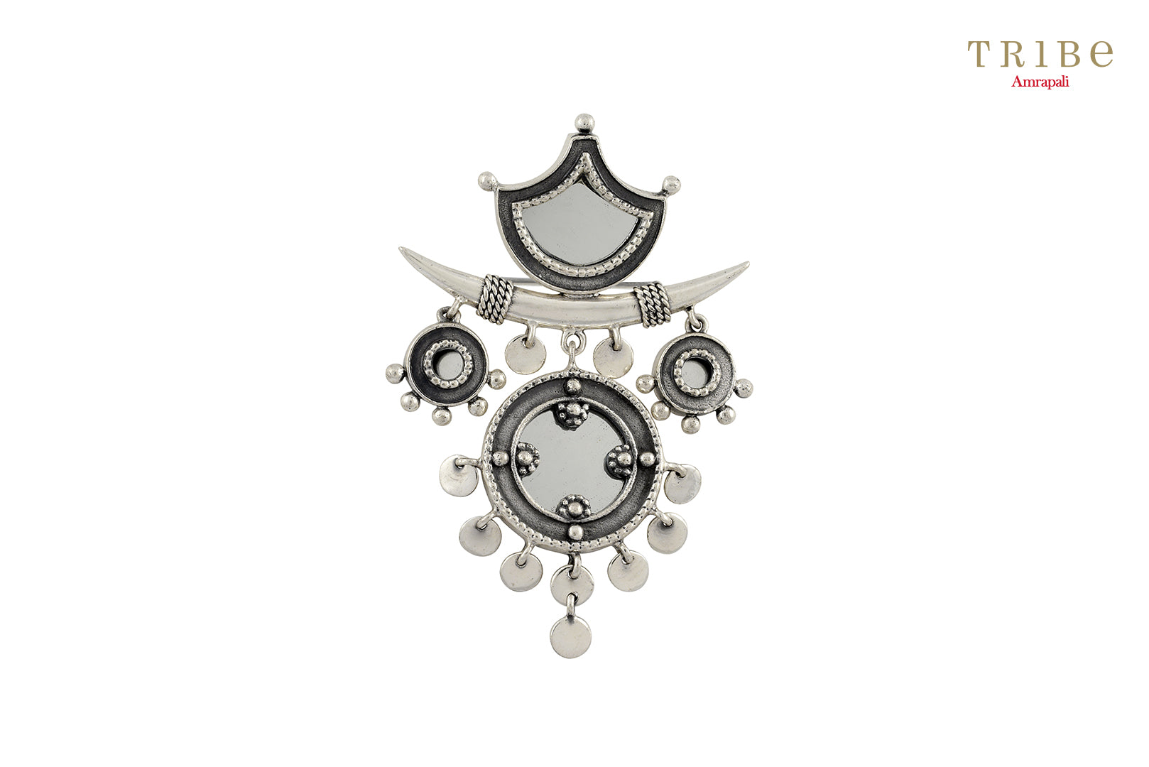Shop online Silver Tribal Round Mirror Brooch in USA by Amrapali. Adorn your Indian traditional look with an exquisite range of Indian silver gold plated jewelry available at Pure Elegance fashion store in USA or shop online. -full view