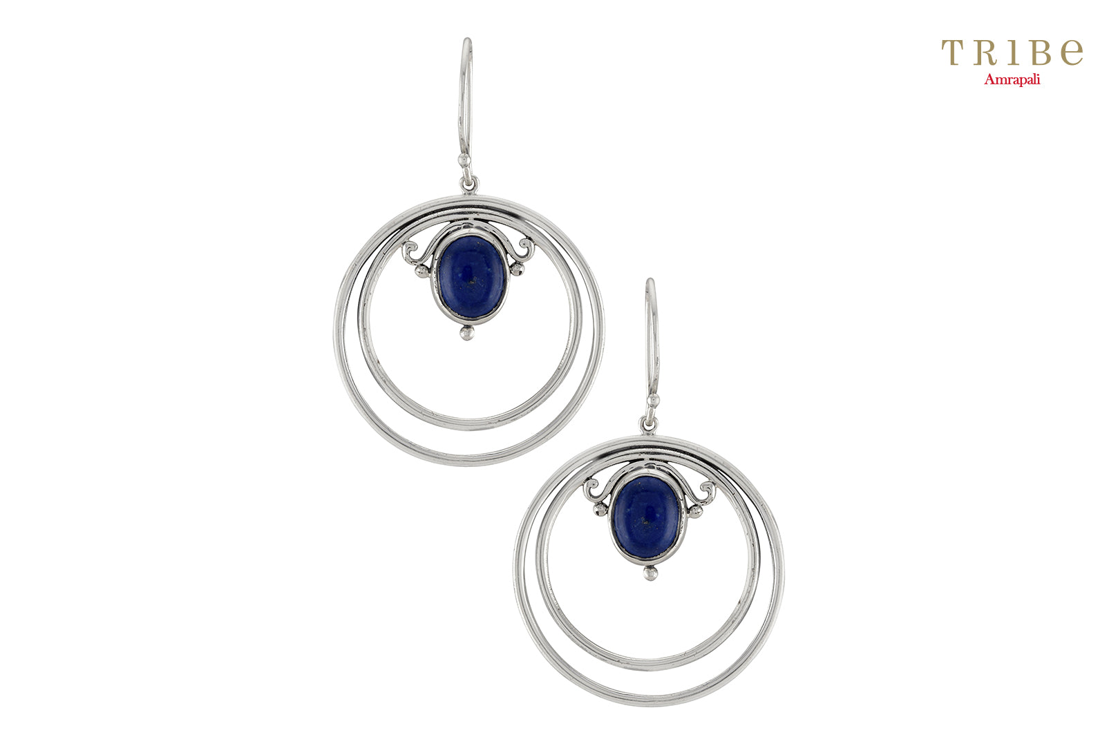 Buy Silver Double Hoop Oval Lapis Hook Earrings online in USA by Amrapali. Adorn your Indian traditional look with an exquisite range of Indian silver gold plated jewelry available at Pure Elegance fashion store in USA or shop online. -full view