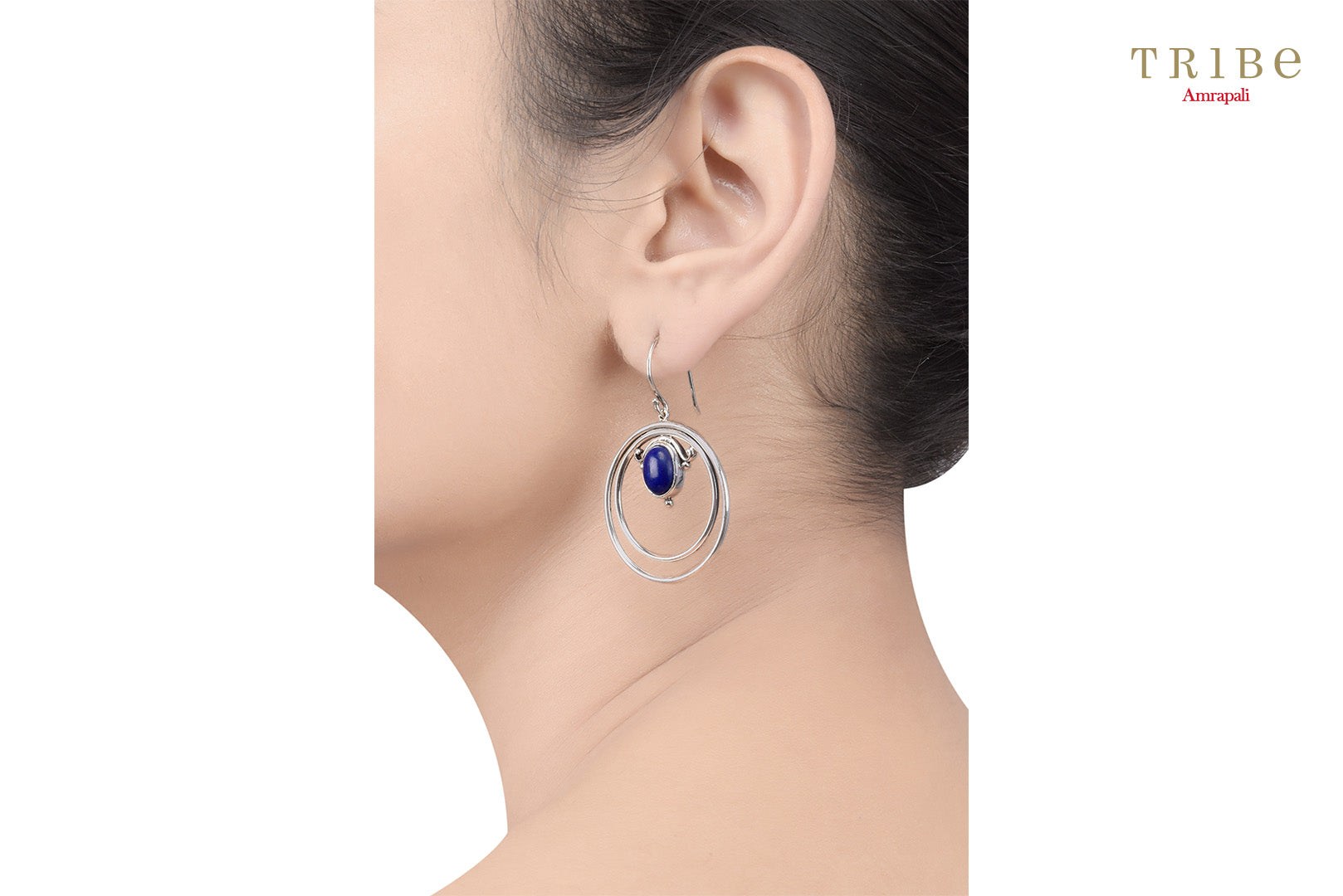 Buy Silver Double Hoop Oval Lapis Hook Earrings online in USA by Amrapali. Adorn your Indian traditional look with an exquisite range of Indian silver gold plated jewelry available at Pure Elegance fashion store in USA or shop online. -ear view