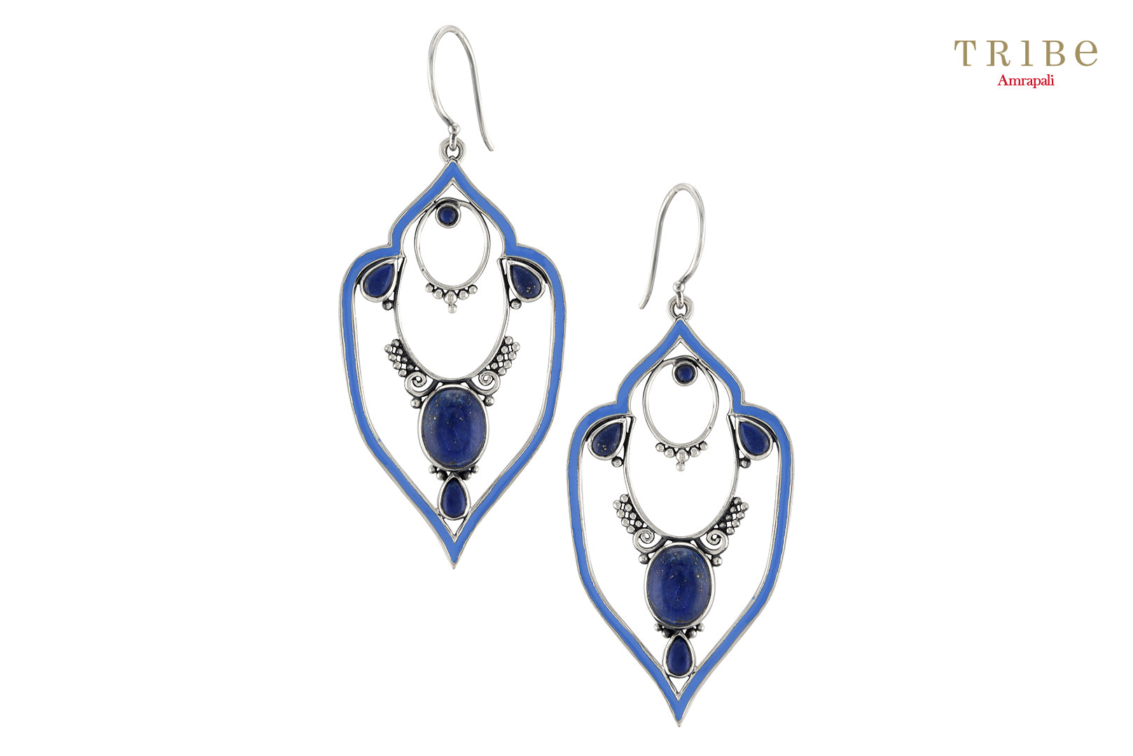 Buy online Silver Lapis Victorian Motif Earrings in USA by Amrapali. Adorn your Indian traditional look with an exquisite range of Indian silver gold plated jewelry available at Pure Elegance fashion store in USA or shop online. -full view