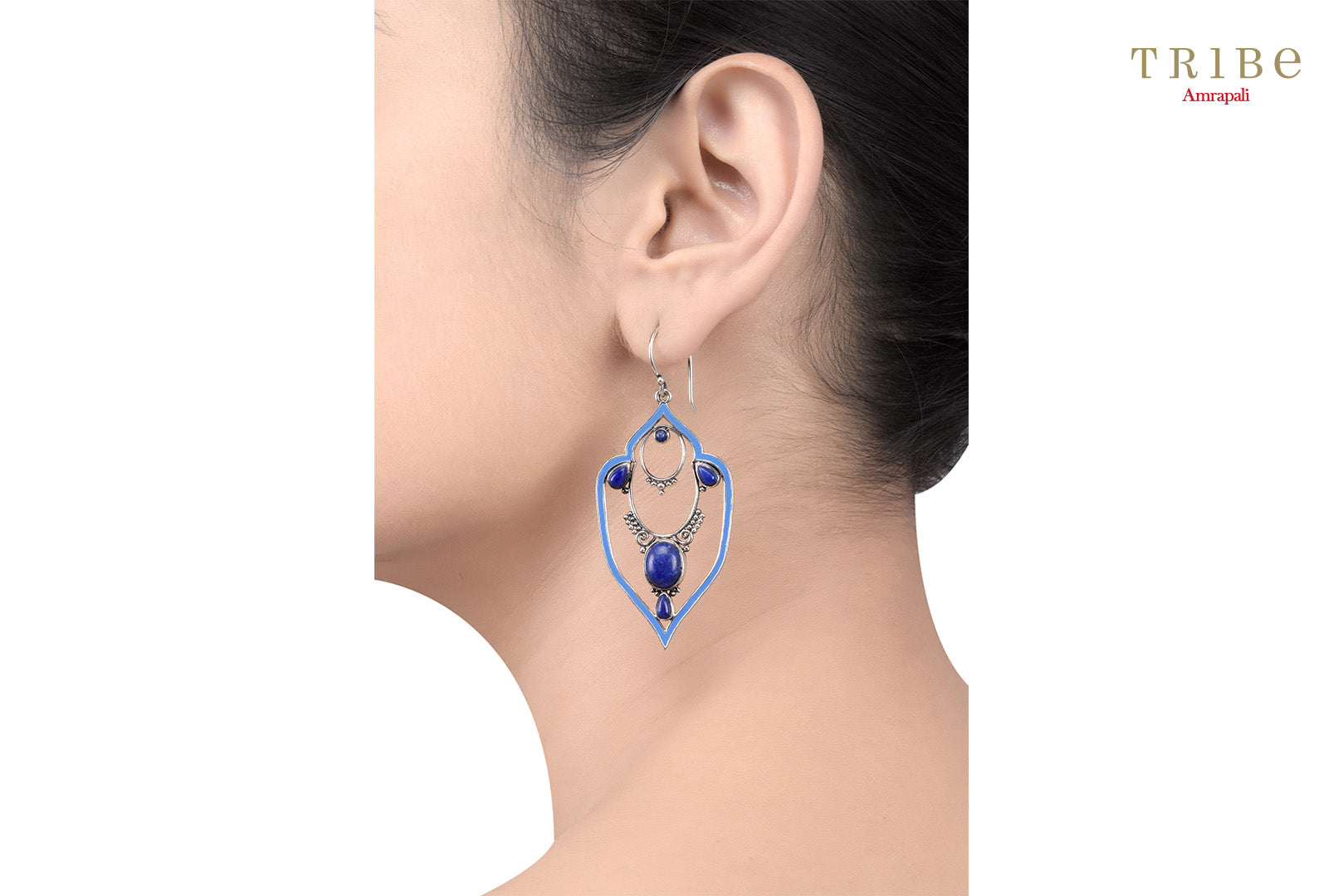 Buy online Silver Lapis Victorian Motif Earrings in USA by Amrapali. Adorn your Indian traditional look with an exquisite range of Indian silver gold plated jewelry available at Pure Elegance fashion store in USA or shop online. -ear view
