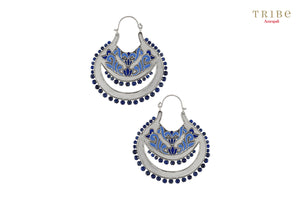 Buy Silver Lotus Floral Lapis Earrings online in USA by Amrapali. Adorn your Indian traditional look with an exquisite range of Indian silver gold plated jewelry available at Pure Elegance fashion store in USA or shop online. -full view
