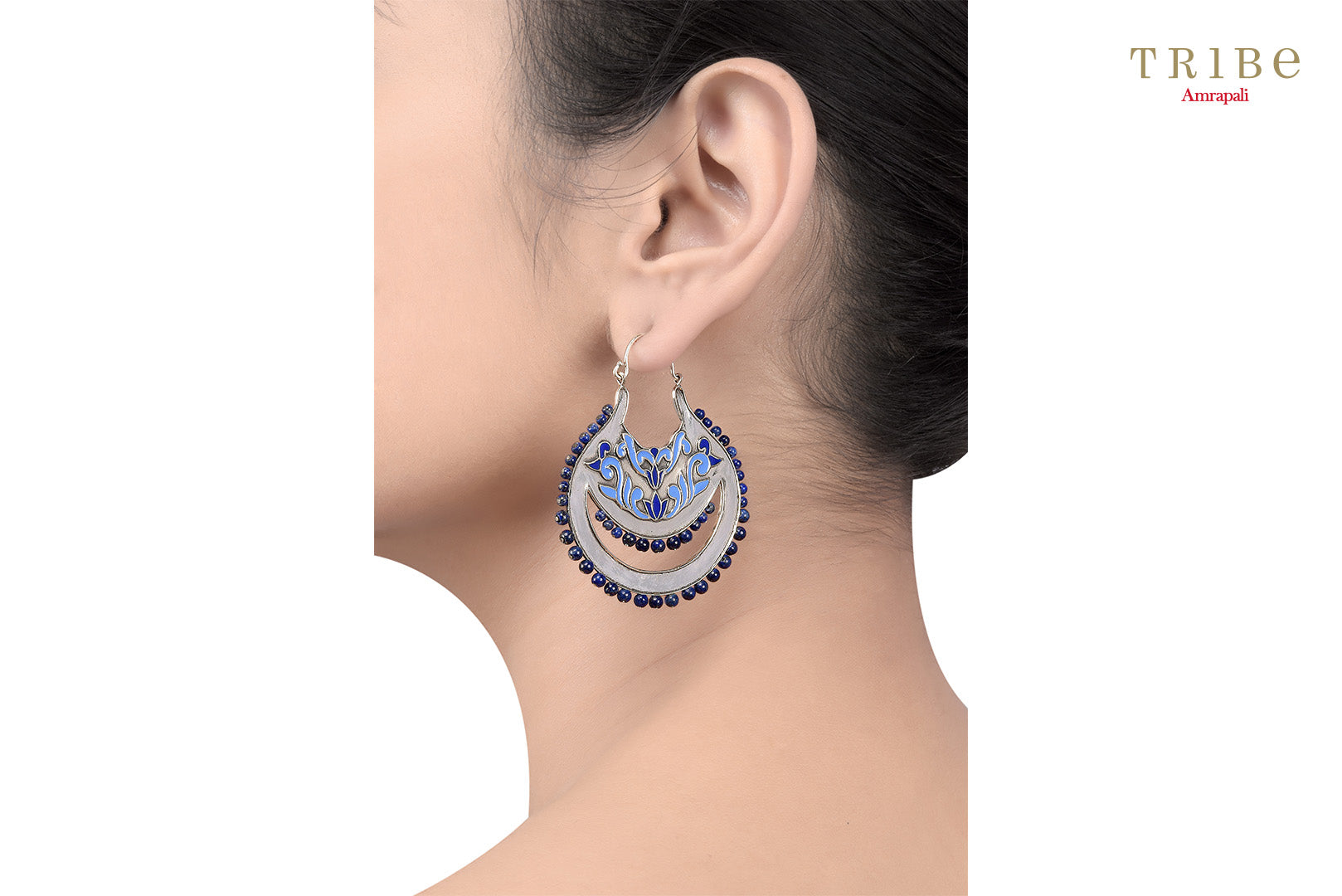 Buy Silver Lotus Floral Lapis Earrings online in USA by Amrapali. Adorn your Indian traditional look with an exquisite range of Indian silver gold plated jewelry available at Pure Elegance fashion store in USA or shop online. -ear view