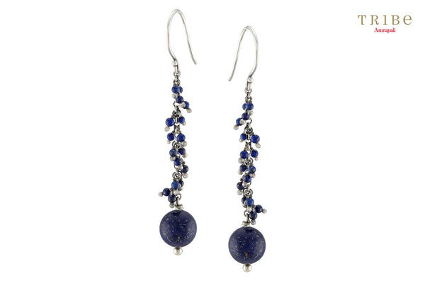 Shop online Silver Lapis Ball Drop Earrings in USA by Amrapali. Adorn your Indian traditional look with an exquisite range of Indian silver gold plated jewelry available at Pure Elegance fashion store in USA or shop online. -full view