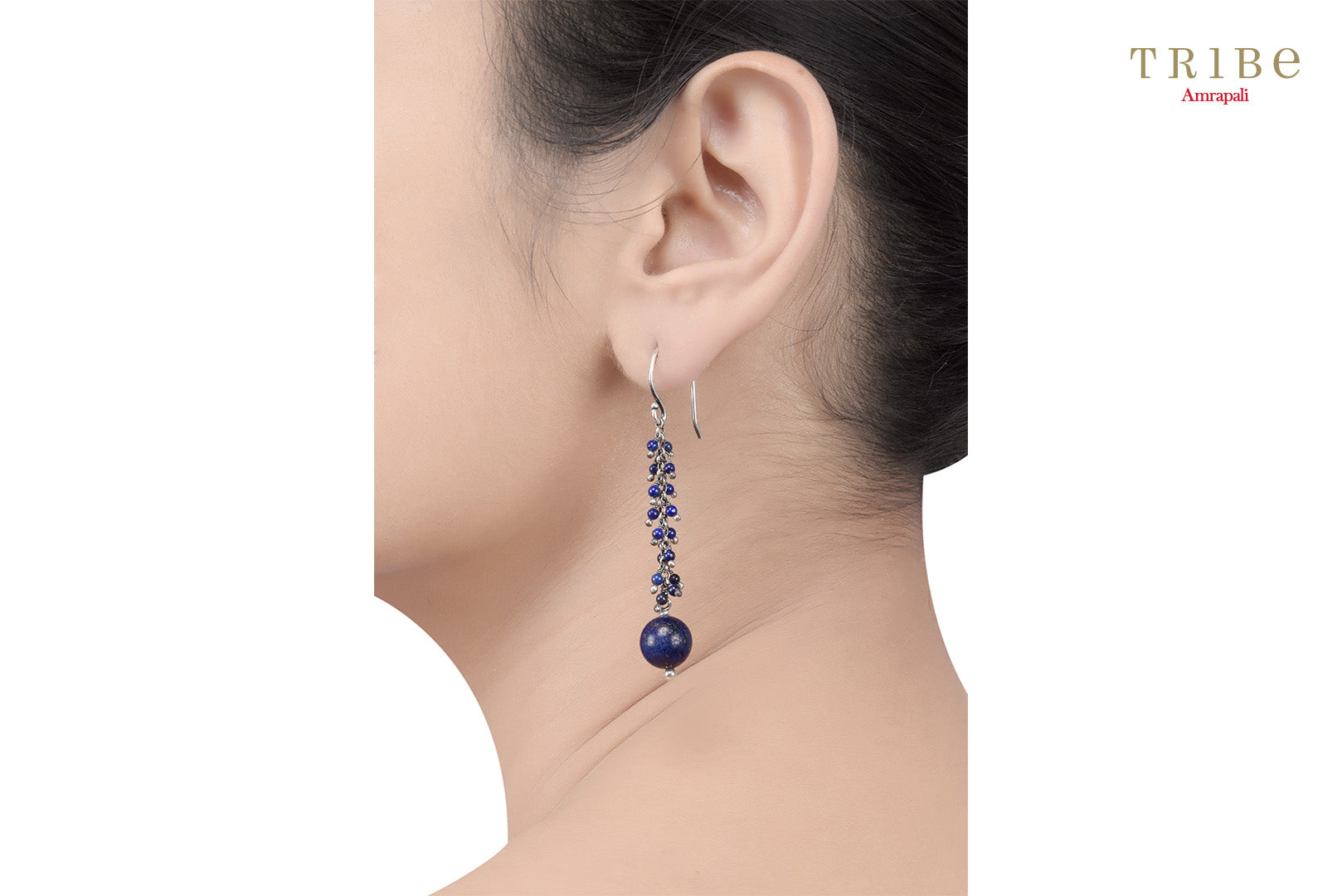 Shop online Silver Lapis Ball Drop Earrings in USA by Amrapali. Adorn your Indian traditional look with an exquisite range of Indian silver gold plated jewelry available at Pure Elegance fashion store in USA or shop online. -ear view