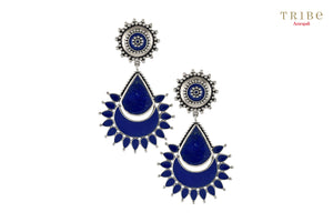 Buy Silver Rawa Blue Enamel Floral Drop Earrings online in USA by Amrapali. Adorn your Indian traditional look with an exquisite range of Indian silver gold plated jewelry available at Pure Elegance fashion store in USA or shop online. -full view