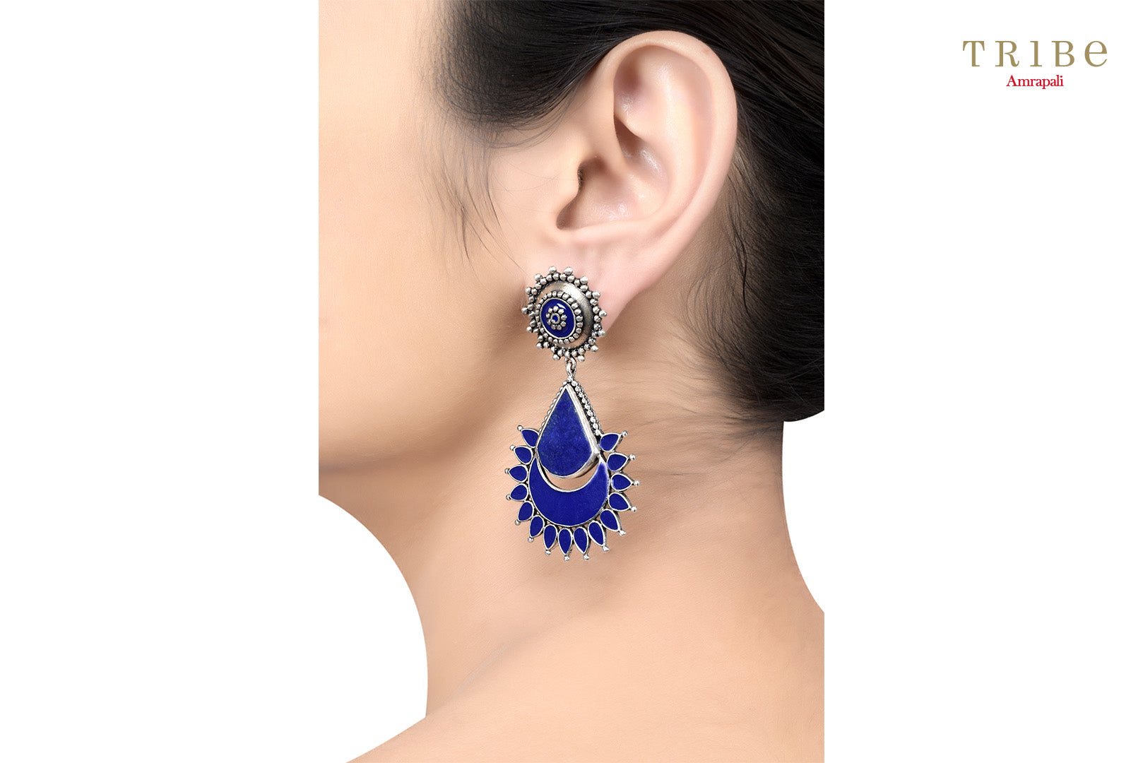 Buy Silver Rawa Blue Enamel Floral Drop Earrings online in USA by Amrapali. Adorn your Indian traditional look with an exquisite range of Indian silver gold plated jewelry available at Pure Elegance fashion store in USA or shop online. -ear view