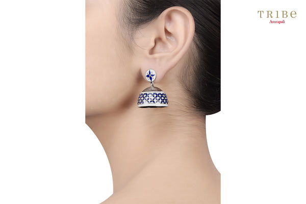 Shop Lapis Geometric Flower Dome Jhumki online in USA by Amrapali. Adorn your Indian traditional look with an exquisite range of Indian silver gold plated jewelry available at Pure Elegance fashion store in USA or shop online. -ear view