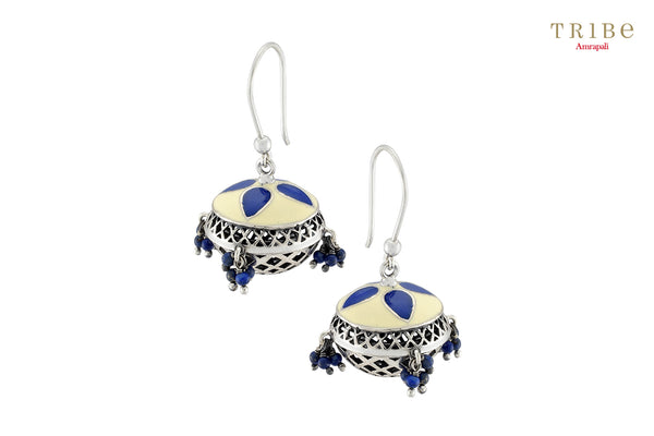 Shop online Lapis Silver Dome Hook Earrings in USA by Amrapali. Adorn your Indian traditional look with an exquisite range of Indian silver gold plated jewelry available at Pure Elegance fashion store in USA or shop online. -full view