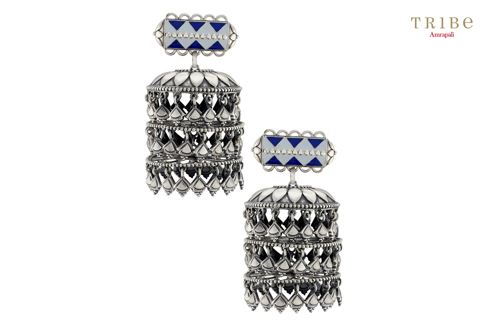 Shop online Lapis Silver Three Tier Drop Jhumki Earrings in USA by Amrapali. Adorn your Indian traditional look with an exquisite range of Indian silver gold plated jewelry available at Pure Elegance fashion store in USA or shop online. -full view
