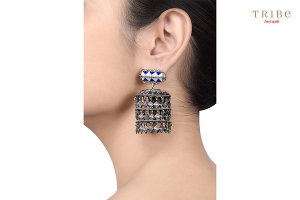 Shop online Lapis Silver Three Tier Drop Jhumki Earrings in USA by Amrapali. Adorn your Indian traditional look with an exquisite range of Indian silver gold plated jewelry available at Pure Elegance fashion store in USA or shop online. -ear view