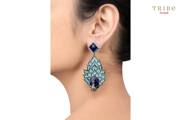 Buy Silver Enameled Peacock Lapis Earrings online in USA by Amrapali. Adorn your Indian traditional look with an exquisite range of Indian silver gold plated jewelry available at Pure Elegance fashion store in USA or shop online. -ear view