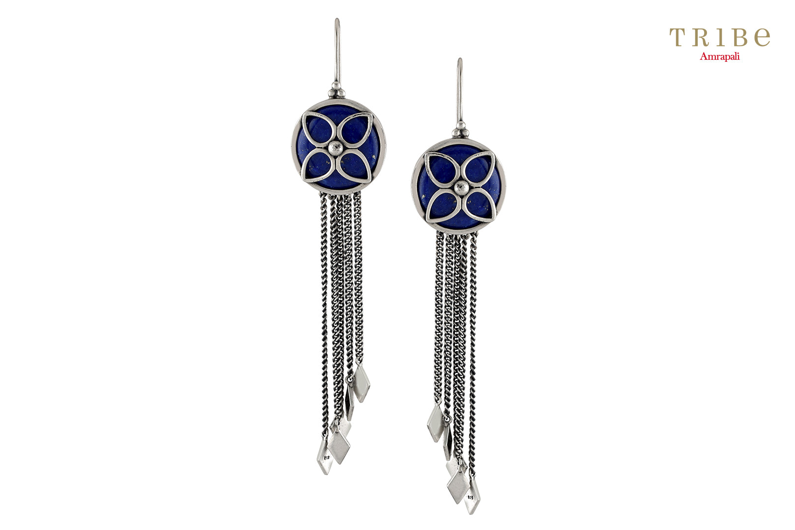 Shop Silver Floral Lapis Tassel Hanging Rhombus Earrings online in USA by Amrapali. Adorn your Indian traditional look with an exquisite range of Indian silver gold plated jewelry available at Pure Elegance fashion store in USA or shop online. -full view