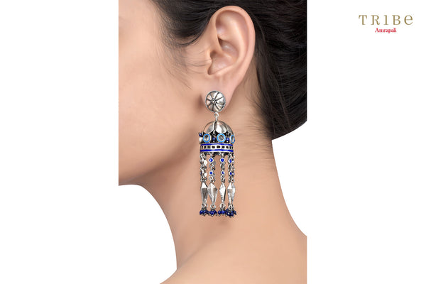 Buy Silver Floral Mirror Kite Drop Lapis Blue Enamel Jhumka Earrings online in USA by Amrapali. Adorn your Indian traditional look with an exquisite range of Indian silver gold plated jewelry available at Pure Elegance fashion store in USA or shop online. -ear view
