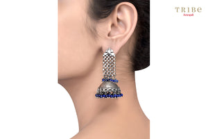 20B871 Silver Interlinked Textured Lapis Bead Drop Jhumka Earrings