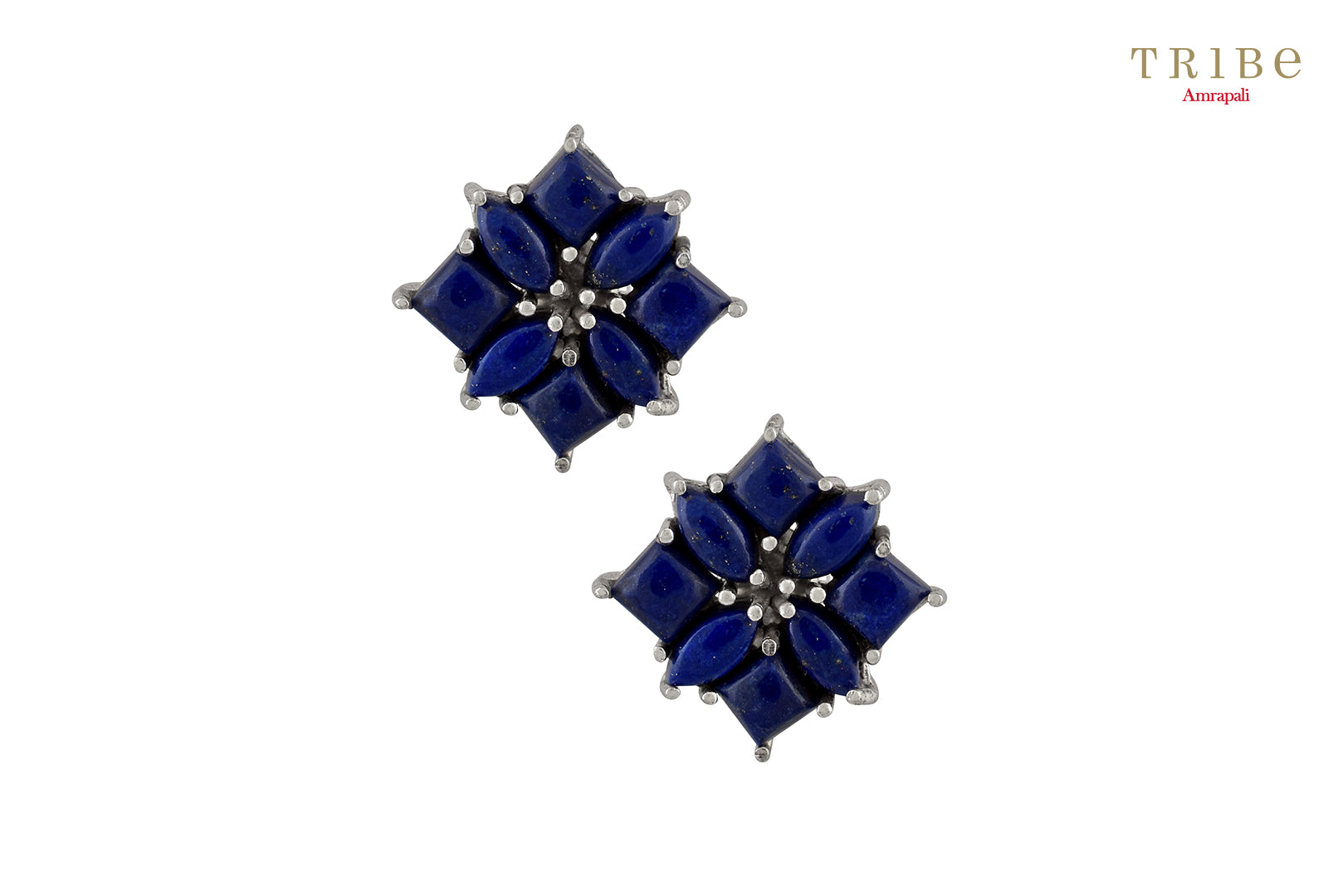 Shop online Silver Lapis Square Stud Earrings in USA by Amrapali. Adorn your Indian traditional look with an exquisite range of Indian silver gold plated jewelry available at Pure Elegance fashion store in USA or shop online. -full view