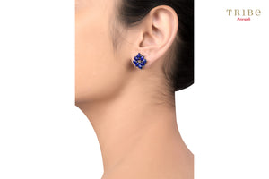 Shop online Silver Lapis Square Stud Earrings in USA by Amrapali. Adorn your Indian traditional look with an exquisite range of Indian silver gold plated jewelry available at Pure Elegance fashion store in USA or shop online. -ear view