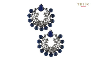 Buy Silver Oxidised Mayura Floral Motif Lapis Studded Earrings online in USA by Amrapali. Adorn your Indian traditional look with an exquisite range of Indian silver gold plated jewelry available at Pure Elegance fashion store in USA or shop online. -full view