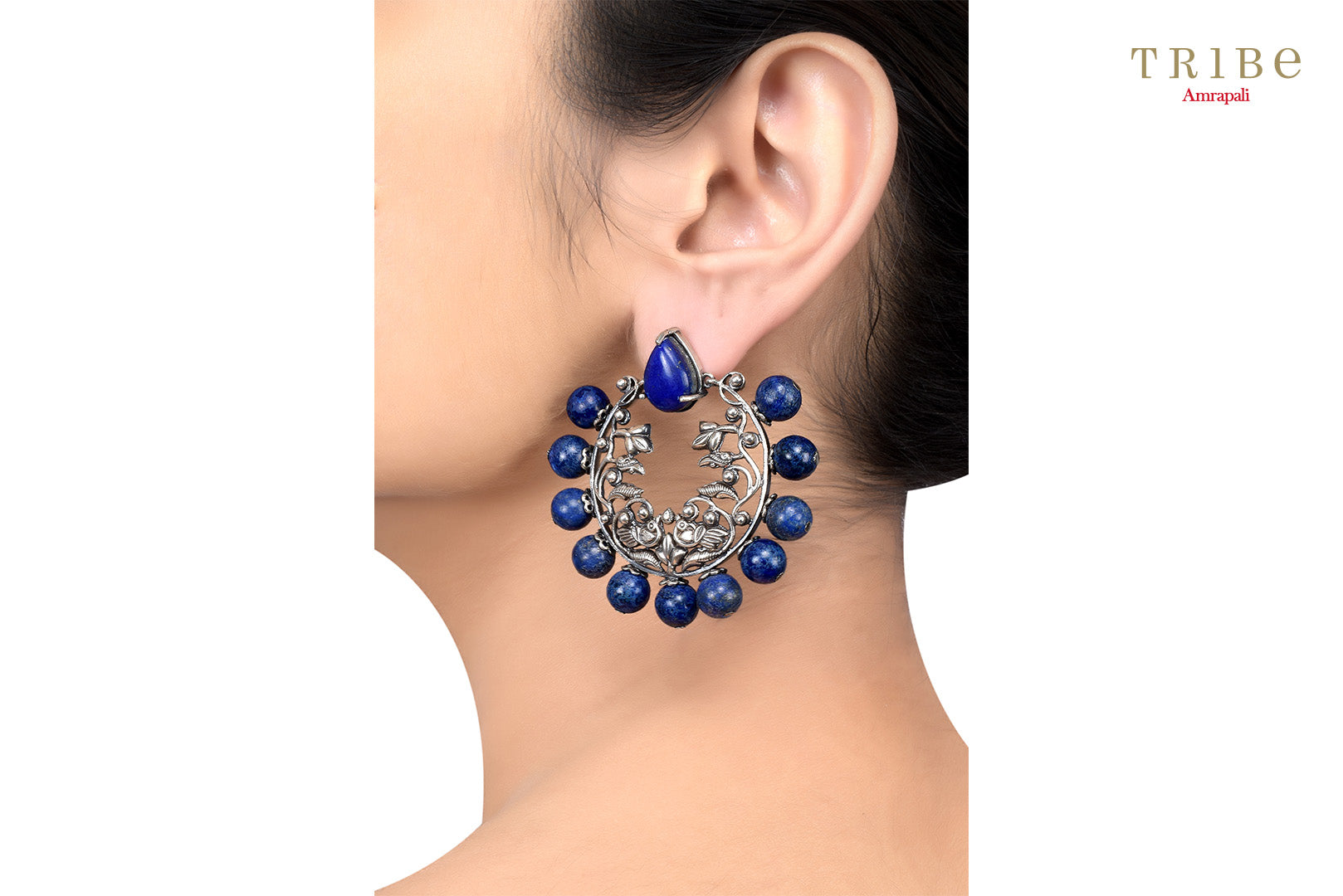 20B873 Silver Oxidized Mayura Floral Motif Lapis Studded Earrings