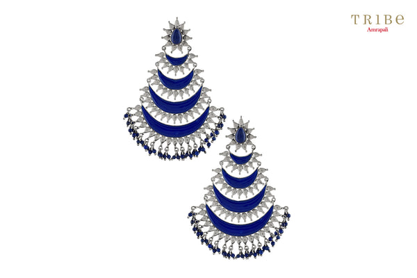 Buy Silver Oxidized Crescent Enameled Lapis Droplet Earrings online in USA by Amrapali. Adorn your Indian traditional look with an exquisite range of Indian silver gold plated jewelry available at Pure Elegance fashion store in USA or shop online. -full view