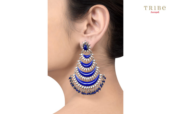 Buy Silver Oxidized Crescent Enameled Lapis Droplet Earrings online in USA by Amrapali. Adorn your Indian traditional look with an exquisite range of Indian silver gold plated jewelry available at Pure Elegance fashion store in USA or shop online. -ear view
