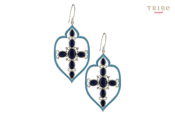 Shop online Silver Mughal Style Oval Lapis Studded Enameled Earrings in USA by Amrapali. Adorn your Indian traditional look with an exquisite range of Indian silver gold plated jewelry available at Pure Elegance fashion store in USA or shop online. -full view