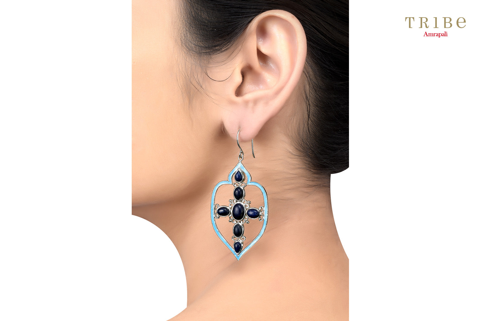 Shop online Silver Mughal Style Oval Lapis Studded Enameled Earrings in USA by Amrapali. Adorn your Indian traditional look with an exquisite range of Indian silver gold plated jewelry available at Pure Elegance fashion store in USA or shop online. -ear view