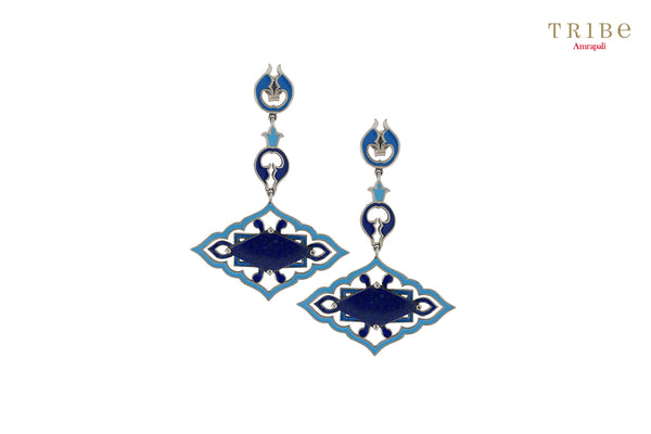 Buy Silver Mughal Style Enameled Rhombus Lapis Earrings online in USA by Amrapali. Adorn your Indian traditional look with an exquisite range of Indian silver gold plated jewelry available at Pure Elegance fashion store in USA or shop online. -full view