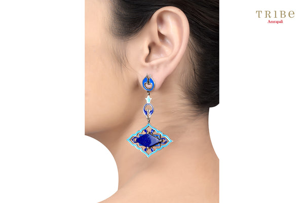 Buy Silver Mughal Style Enameled Rhombus Lapis Earrings online in USA by Amrapali. Adorn your Indian traditional look with an exquisite range of Indian silver gold plated jewelry available at Pure Elegance fashion store in USA or shop online. -ear view