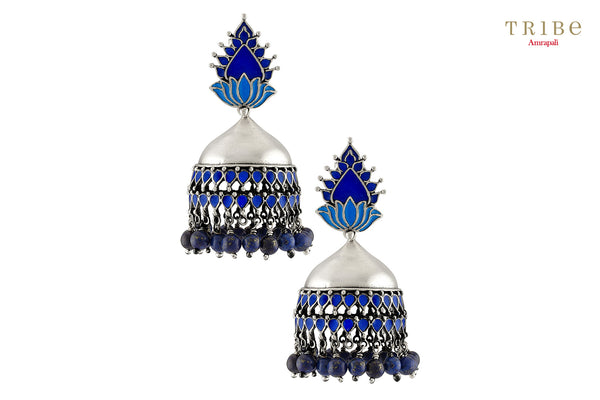 Buy Silver Lotus Blue Enamel Lapis Bead Drop Jhumka Earrings online in USA by Amrapali. Adorn your Indian traditional look with an exquisite range of Indian silver gold plated jewelry available at Pure Elegance fashion store in USA or shop online. -full view