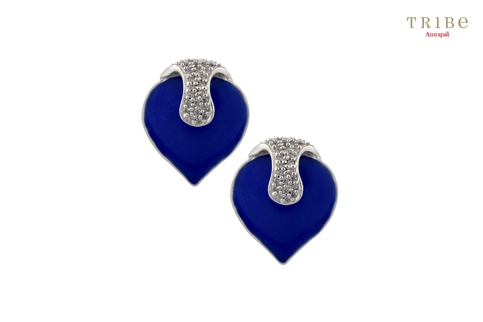 Shop Silver Leafy Zircon Lapis Enameled Ear Studs online in USA by Amrapali. Adorn your Indian traditional look with an exquisite range of Indian silver gold plated jewelry available at Pure Elegance fashion store in USA or shop online. -full view