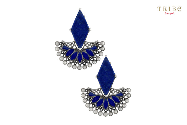 Shop Silver Rhombus Lapis Floral Pearl Enameled Earrings online in USA by Amrapali. Adorn your Indian traditional look with an exquisite range of Indian silver gold plated jewelry available at Pure Elegance fashion store in USA or shop online. -full view