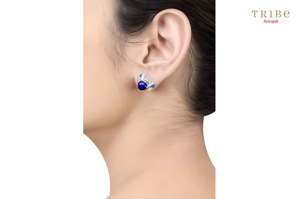 Buy Silver Round Lapis Enamel Dome Earrings online in USA by Amrapali. Adorn your Indian traditional look with an exquisite range of Indian silver gold plated jewelry available at Pure Elegance fashion store in USA or shop online. -ear view