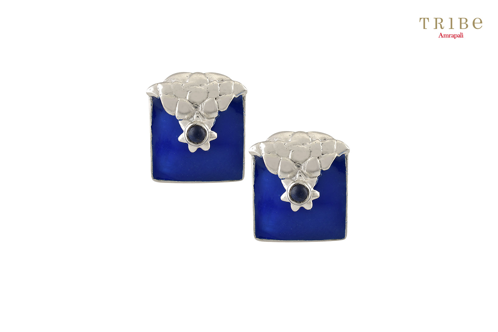 Shop Silver Enameled Square Flower Earrings online in USA by Amrapali. Adorn your Indian traditional look with an exquisite range of Indian silver gold plated jewelry available at Pure Elegance fashion store in USA or shop online. -full view