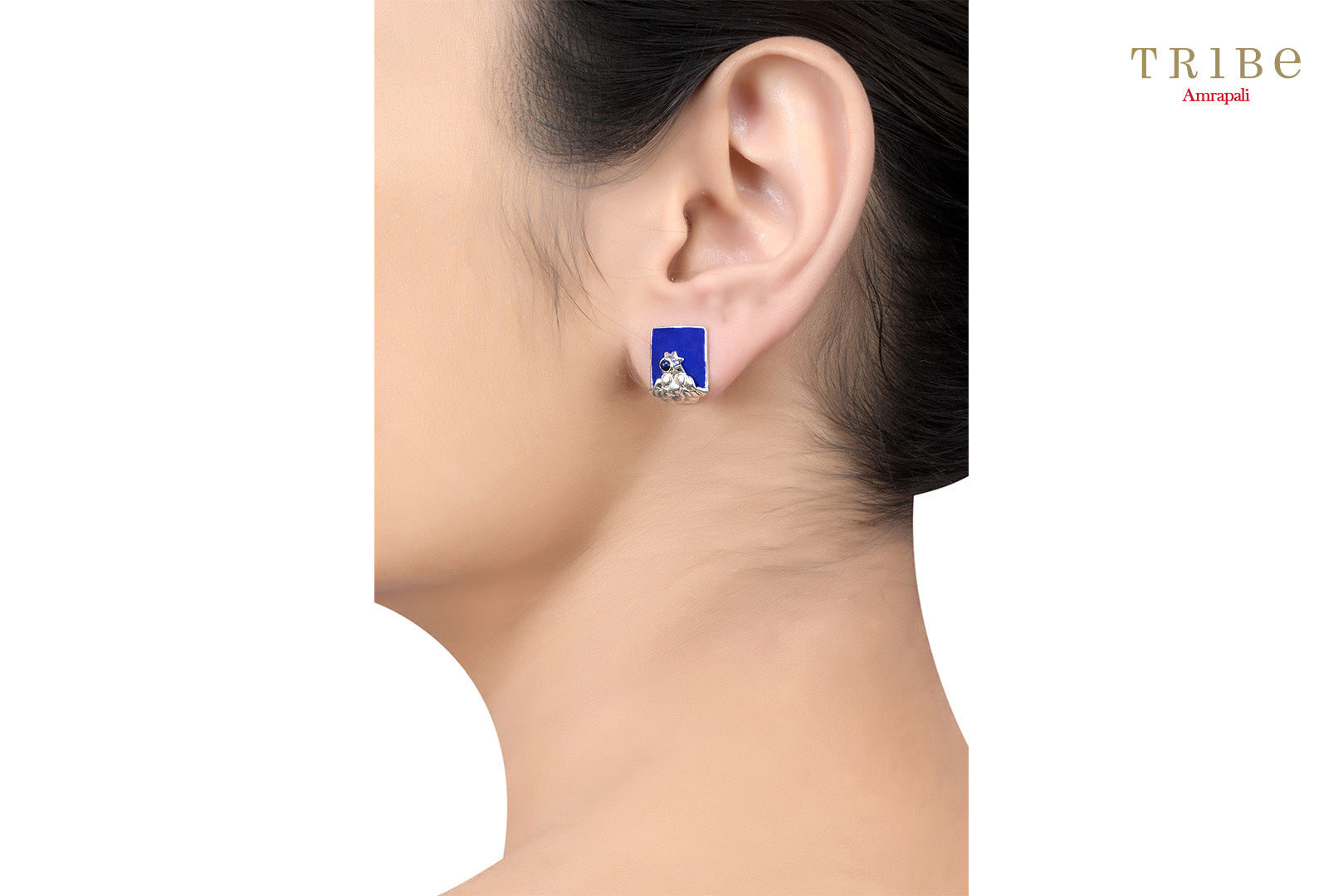 Shop Silver Enameled Square Flower Earrings online in USA by Amrapali. Adorn your Indian traditional look with an exquisite range of Indian silver gold plated jewelry available at Pure Elegance fashion store in USA or shop online. -ear view